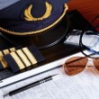 Professional airline pilot equipment - Stock Photo