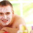 Man in spa with mask — Stock Photo