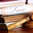 Judges gavel with very old books — Stock Photo #9736084