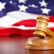 Judges gavel with flag — Stock Photo