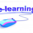 Stock Photo: E learning text with mouse