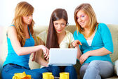 Beautiful girls with laptop — Stock Photo