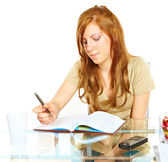 Student girl with notebook — Stock Photo