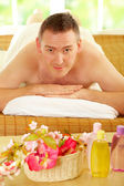 Man resting in spa salon — Stock Photo