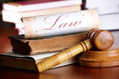 Judges gavel with very old books — Stock Photo