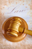 Judges gavel with very old paper — Stock Photo