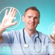 Royalty-Free Stock Photo: Medicine doctor working with futuristic interface