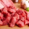 Beef on cutting board - 图库照片