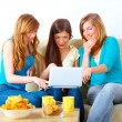 Beautiful girls meeting - Stockfoto