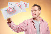 Flying emails — Foto Stock