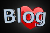 Blog with red heart — Stock Photo