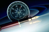Pen with compass — Stock Photo