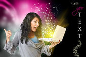 Happy woman with computer — Stock Photo