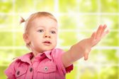 Cute Baby Girl Reaching For Something — Stock Photo
