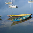 Bright colored wooden boats in Pokhara — Stock Photo #9796867