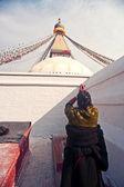 Women in worship stupa — Stock Photo