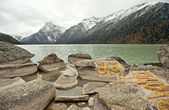 China's Sichuan province, highland lakes, MANI rubble — Stock Photo