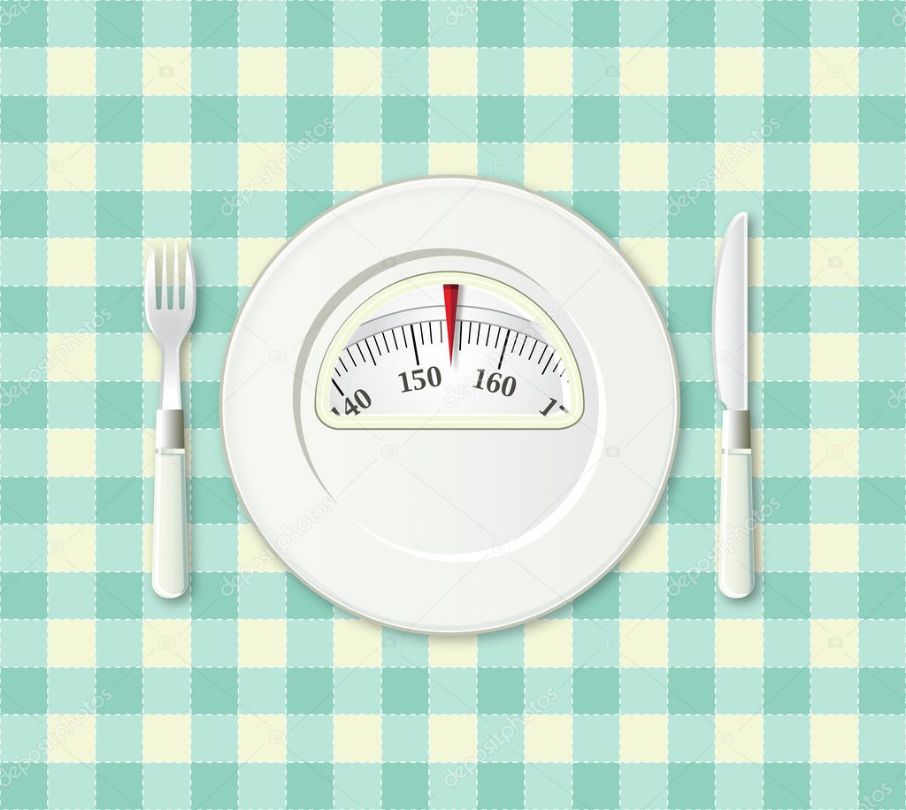 Plate with fork and knife on a plaid with a weight balance scale integrated in the plate  Stock Photo #9657929
