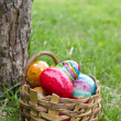 Easter eggs in basket — Stock Photo #10098505