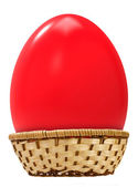 Big easter egg in basket — Stock Photo
