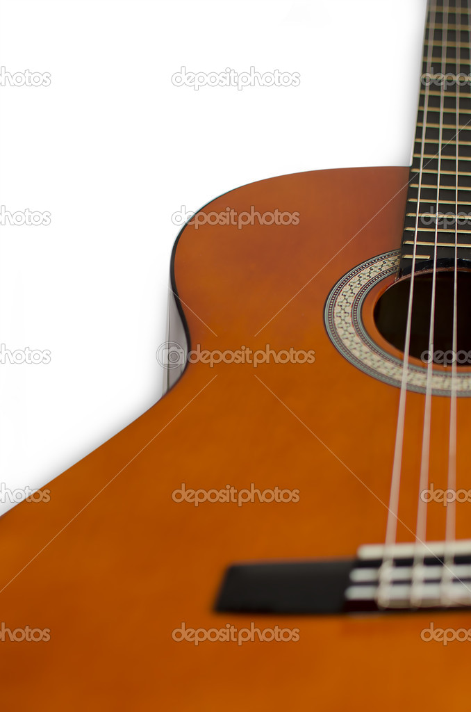 Acoustic guitar isolated on white — Stock Photo #9745625
