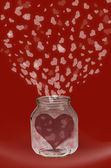 Heart in jar — Stock Photo