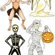 Stock Vector: Halloween monsters costumes
