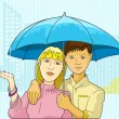 Young couple sharing in one umbrella — Imagen vectorial