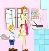 Illustration of mother & son on mom's birthday — Stock Vector