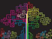 Arbre coloré de réseau — Vecteur