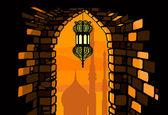 Ramadan lantern with arabian architecture background — Stock Vector
