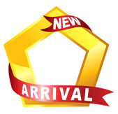 Nueva señalización de llegada en forma pentagonal — Vector de stock
