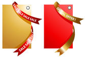 Illustration of red and gold signage with ribbon — Stock Vector