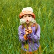 Little girl looking through the dandelions — Stock Photo