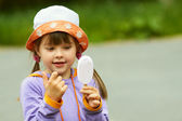 Girl looking for ice cream — Stock Photo
