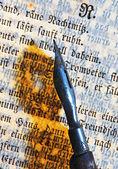 Texto y pluma antigua — Foto de Stock