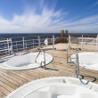 Three hot tub on the deck of a cruise — Stock Photo