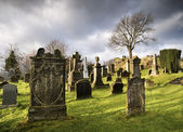 Cemetery with tombstones — Stock Photo