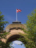 Denmark flag waving in the Tivoli, Copenhagen, — Stock Photo