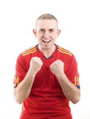 Spanish supporter celebrating a victory — Stock Photo