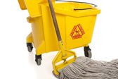 Industrial Mop and bucket close-up — Stock Photo