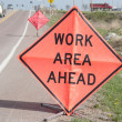 Stock Photo: Roadside Work Ahead Signs