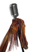Microphone, stand and scarf — Stock Photo