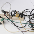 Stock Photo: Overloaded power strip