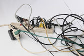 Overloaded power strip — Stock Photo