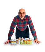 Senior with prescription bottles — Stock Photo