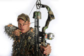 Bow hunter in action — Stock Photo