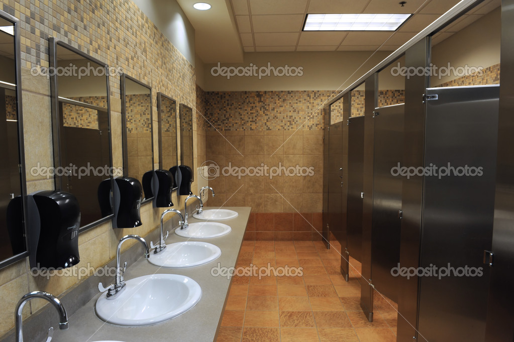 Lavatory sinks in a public restroom — Stock Photo #9762270