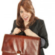 Girl with briefcase - Stock Photo