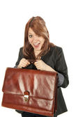 Girl with briefcase — Stock Photo